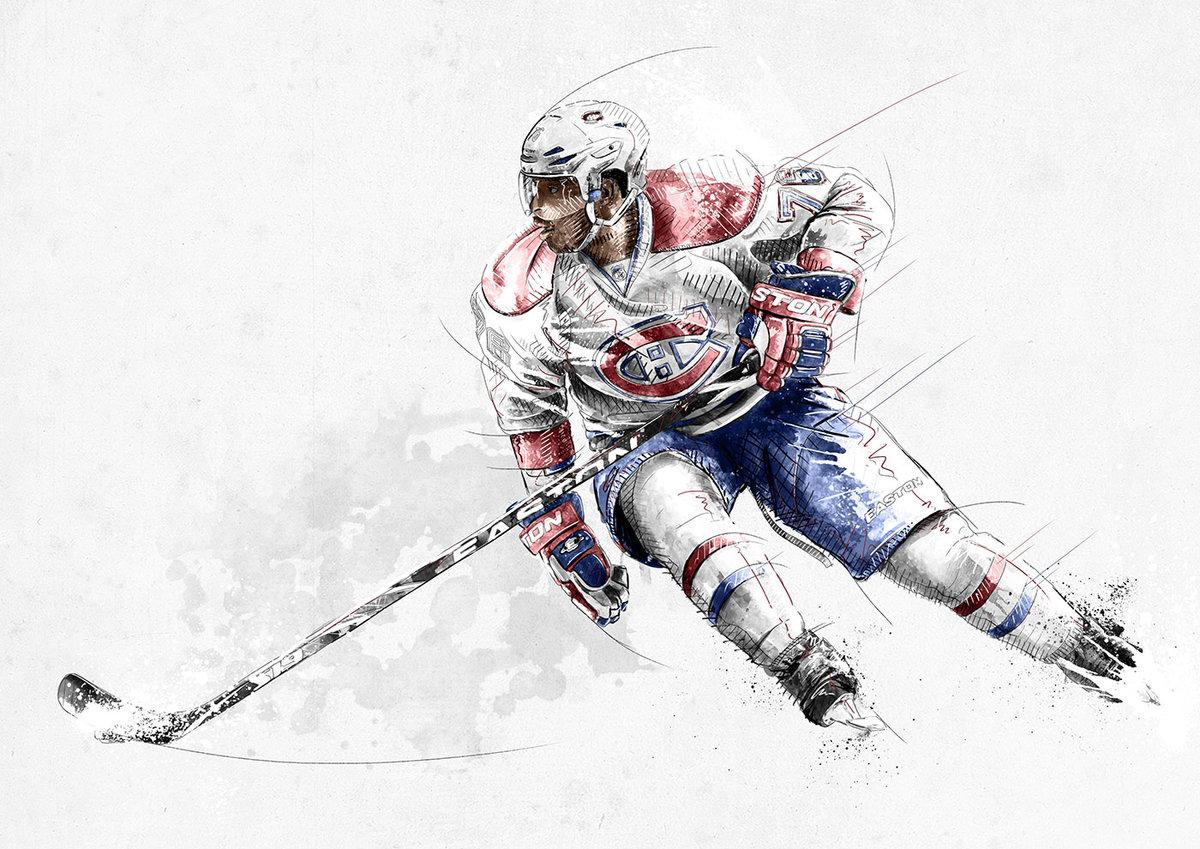 Картинки с хоккеистами нарисованные, для