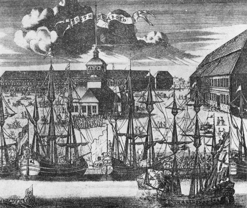 Гостиный двор и Троицкая площадь. Гравюра А. Ростовцева. 1716 г.