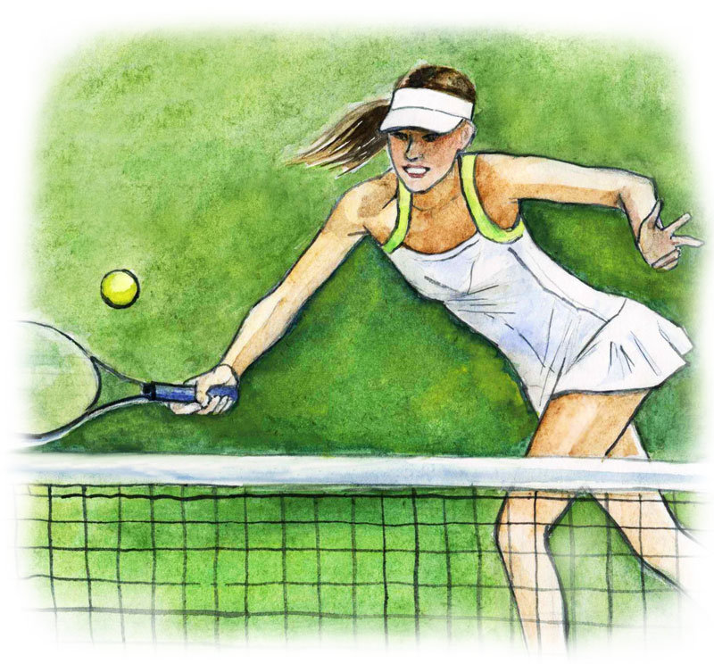 Нарисованная картинка теннис