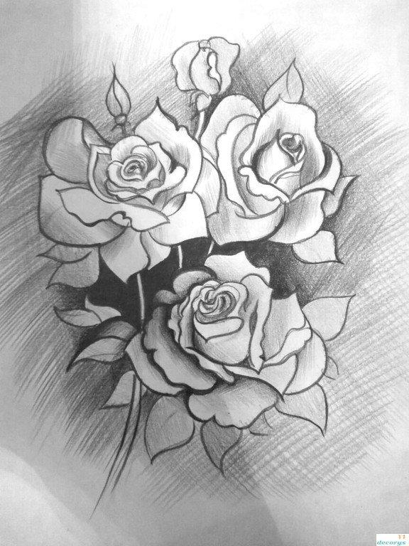 Букет роз картинки для рисования