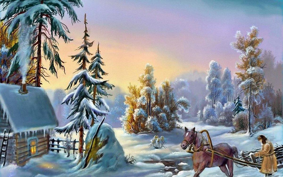 Нарисовать, зимняя сказка в открытках