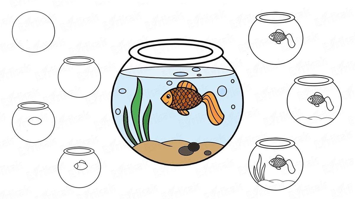 переживаю, рисунок аквариум с рыбками и водорослями плодовые тела