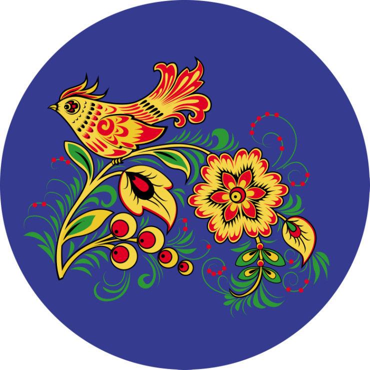 хохлома птица рисунок салфетка для