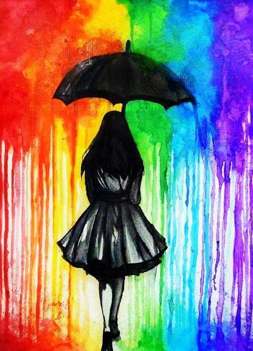 Поздравлением днем, рисунок девочка под дождем с зонтиком