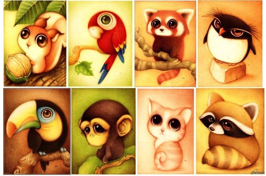 Картинки зверюшек для срисовки