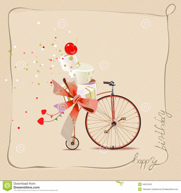 Бабушке, открытка на прищепке велосипед