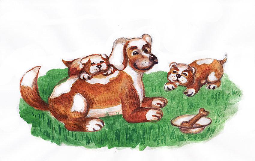 картинка щенок с мамой сказочная кепка очки хипстер