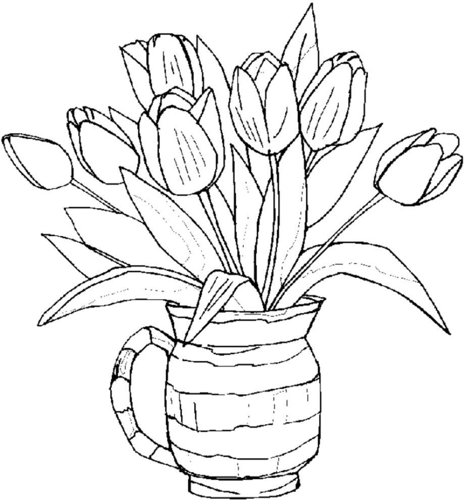 Тему париж, раскраска ваза с цветами