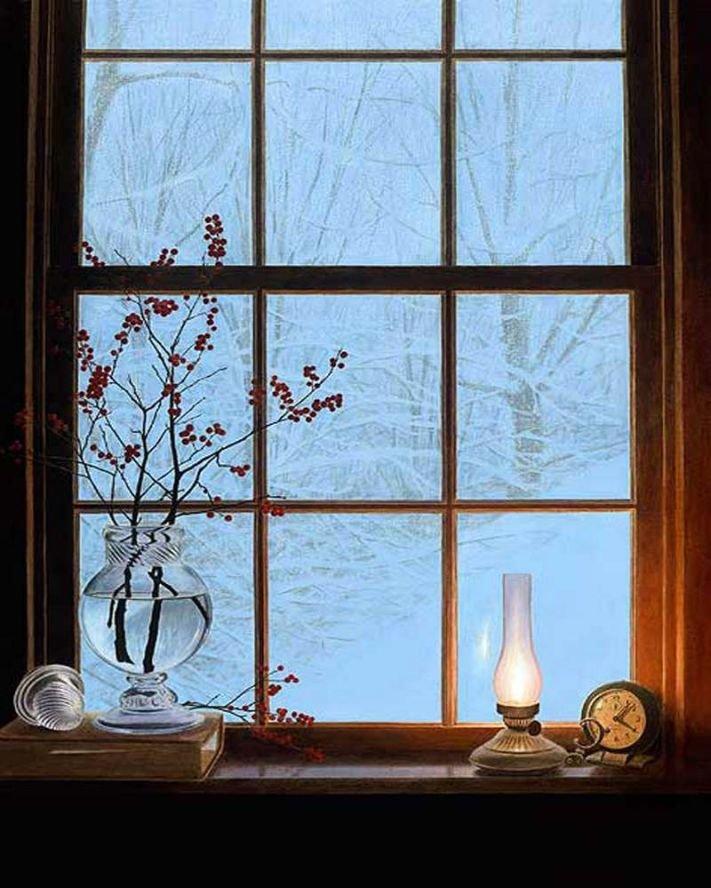 Советская, открытки зимний вечер у окна