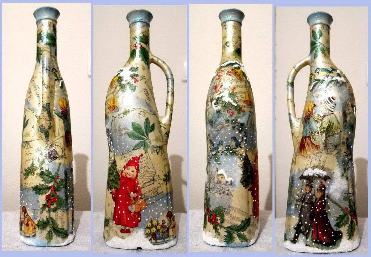 картинки декупаж бутылок и банок