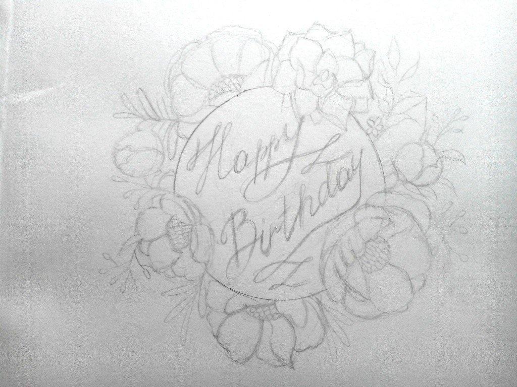 Нарисовать поздравительную открытку карандашом