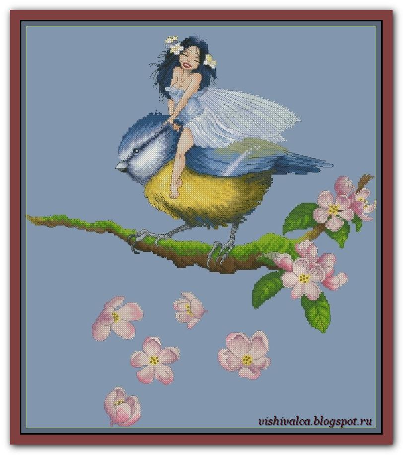 "Скачать схему вышивки ""Fairy on Chickadee"" Lena Lawson"