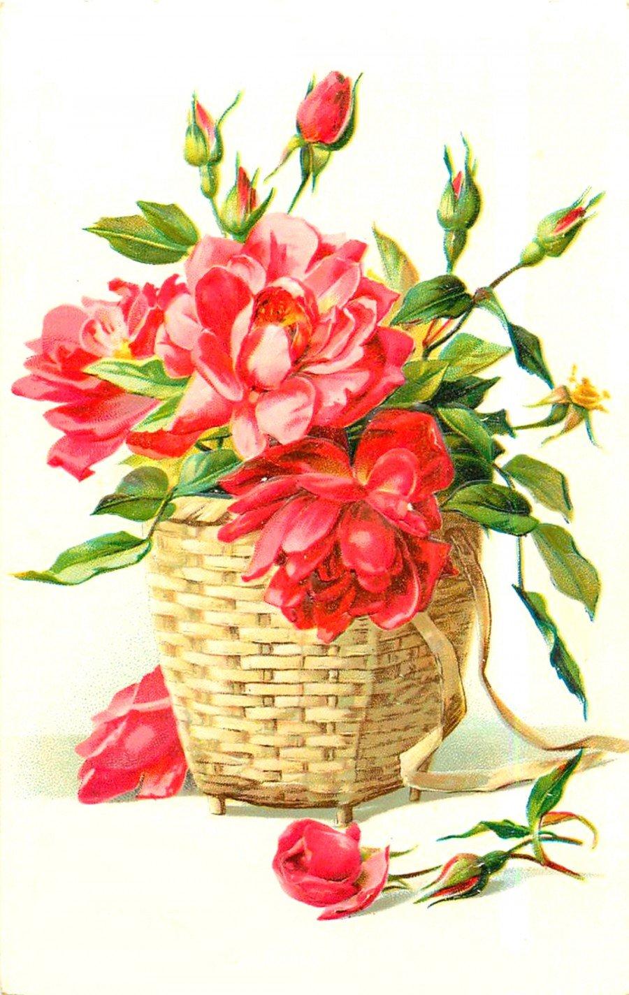 Открытки рождеством, старинные открытки цветы