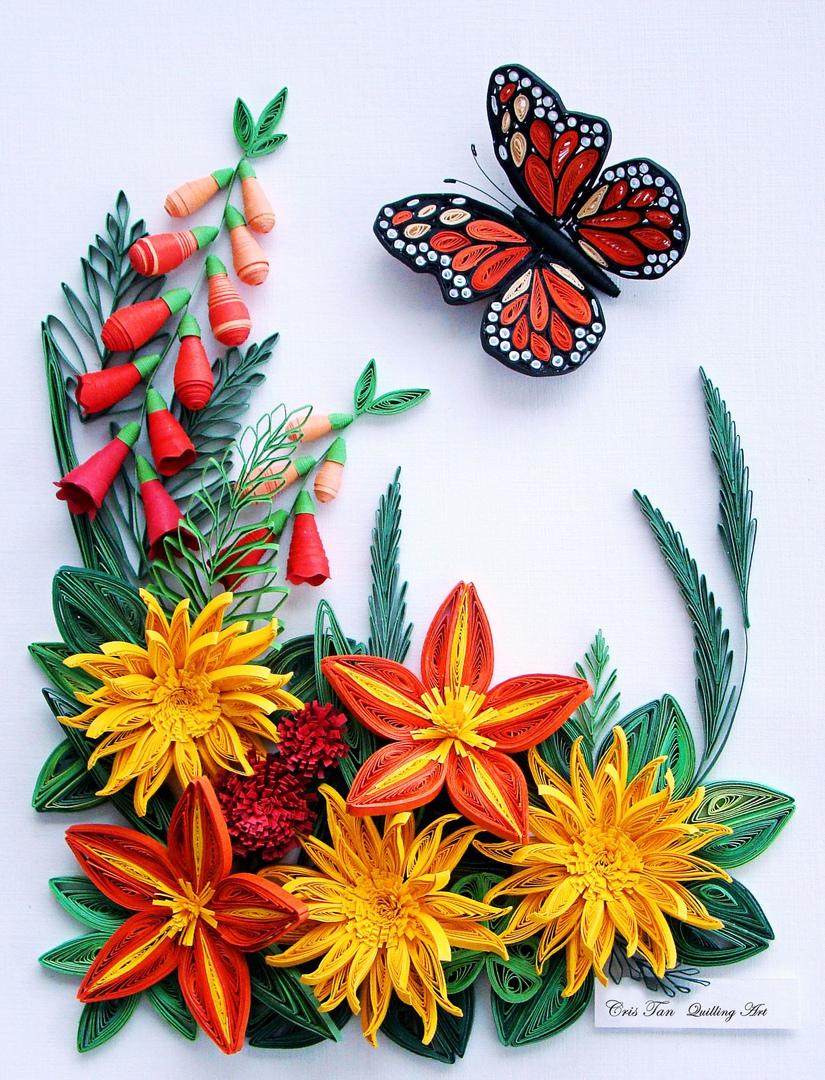 Днем учителя, открытка из квиллинга бабочку