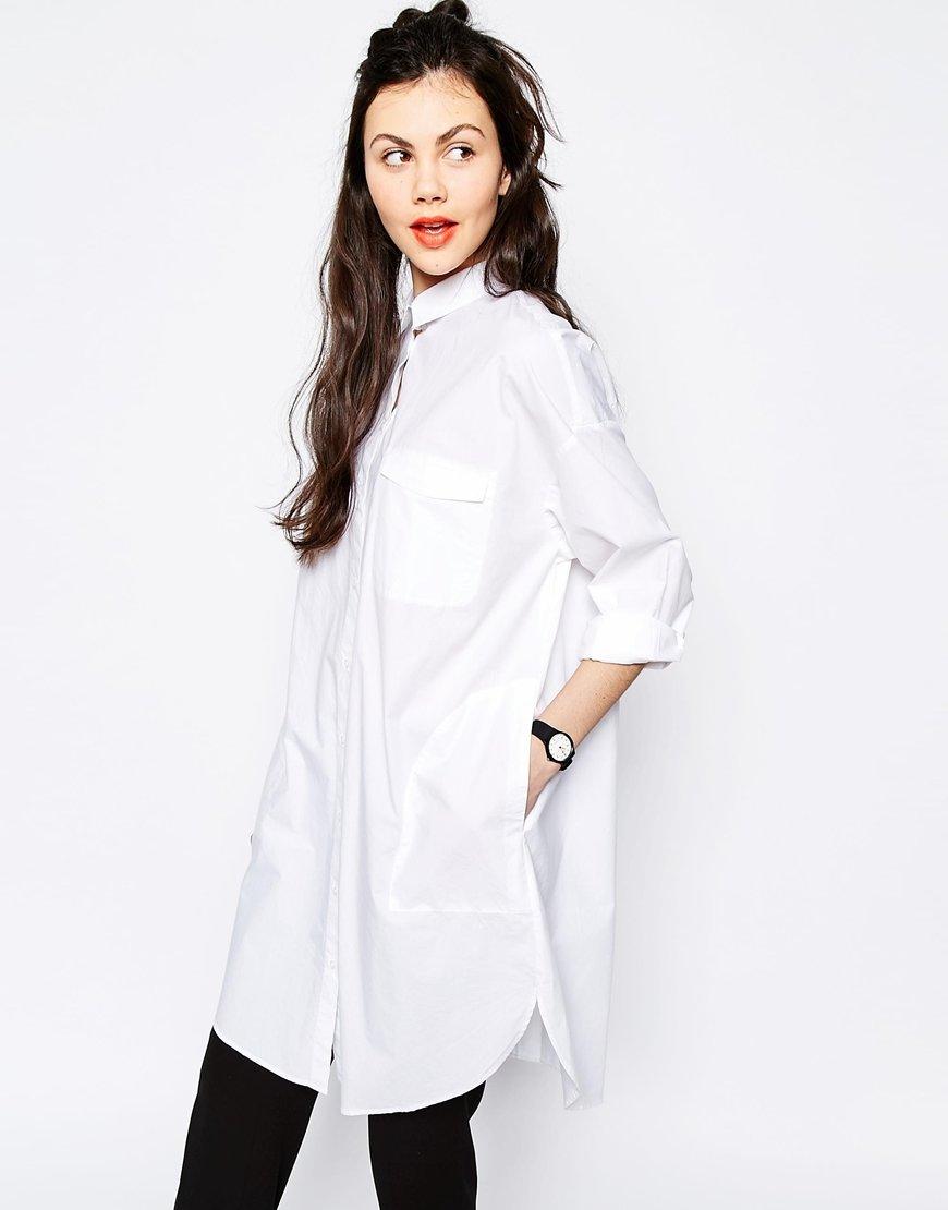 длинная белая рубашка купить