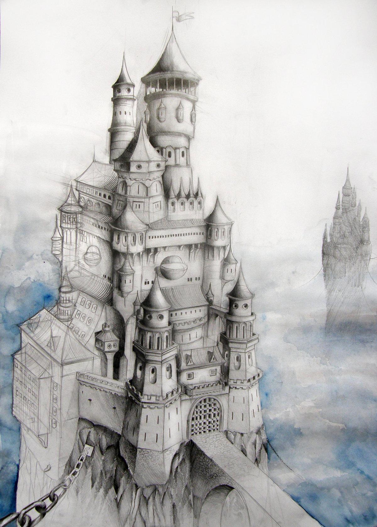 Картинки нарисованные красивые замки