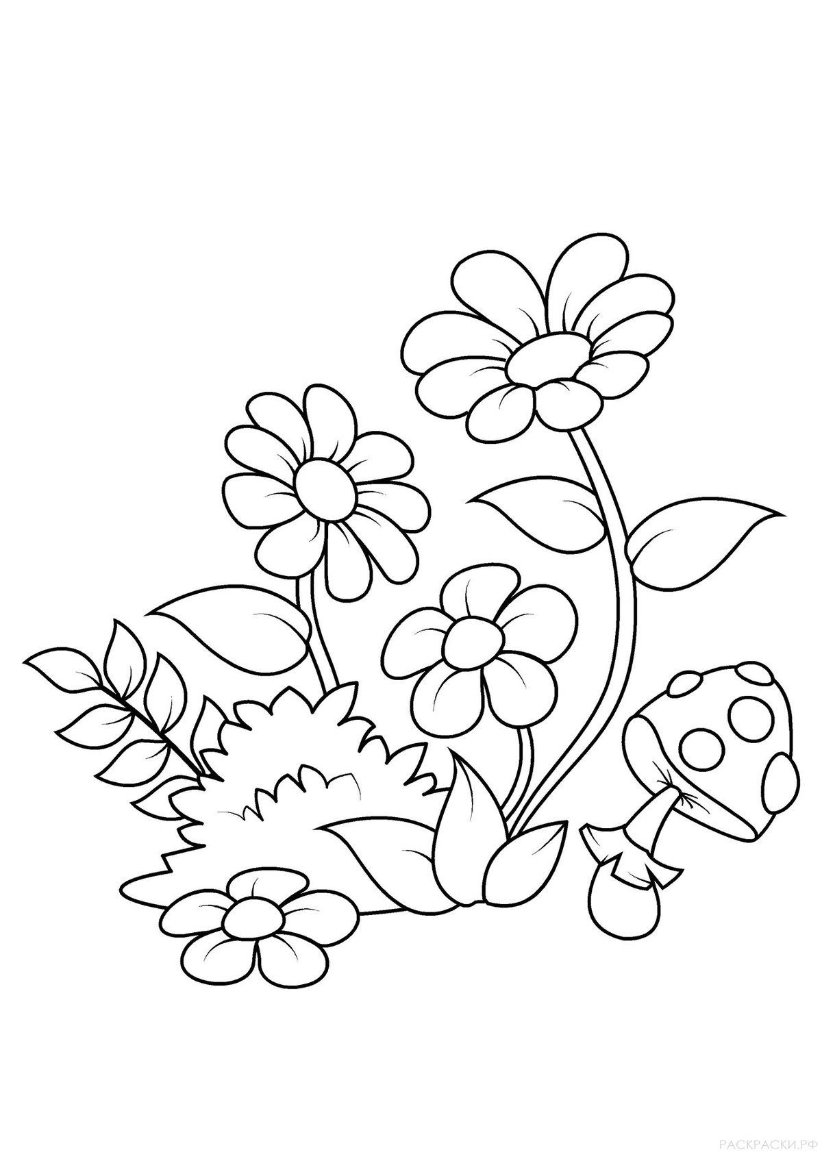 Раскраски с цветами для детей, про любовь