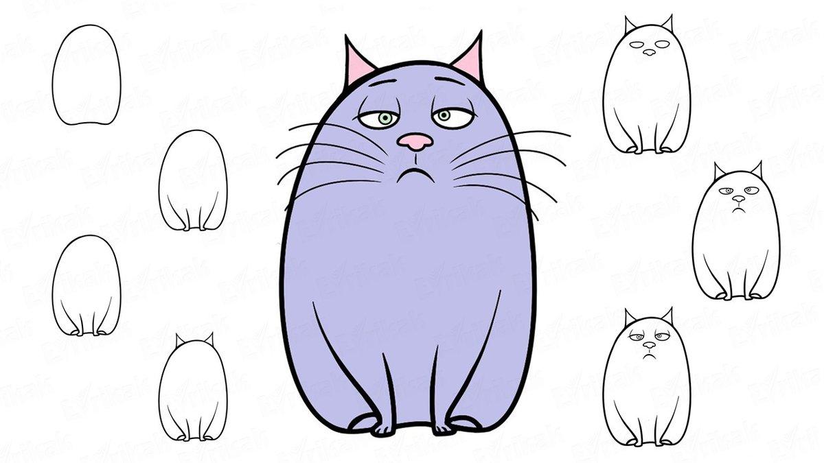 Картинки, смешной рисунок кота поэтапно
