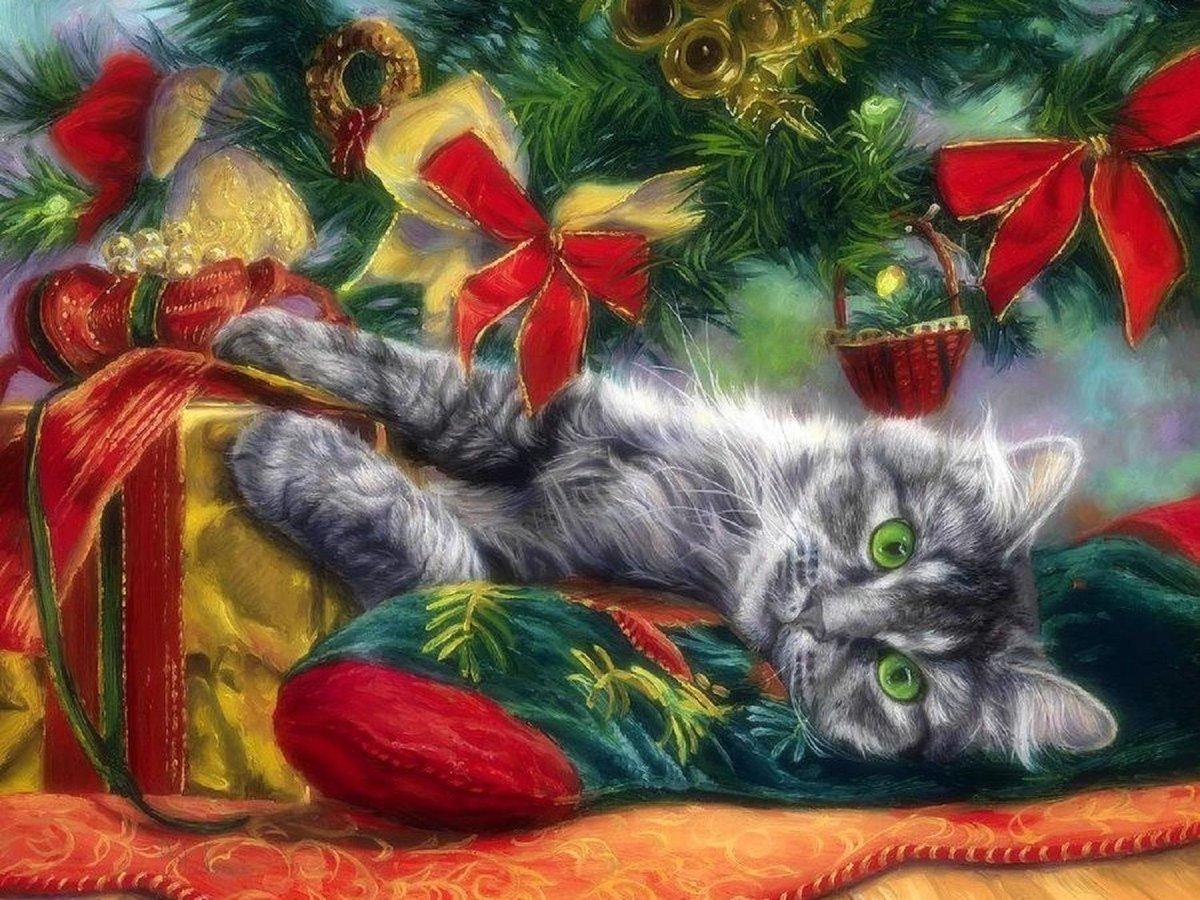 Открытка новый год коты, рождением