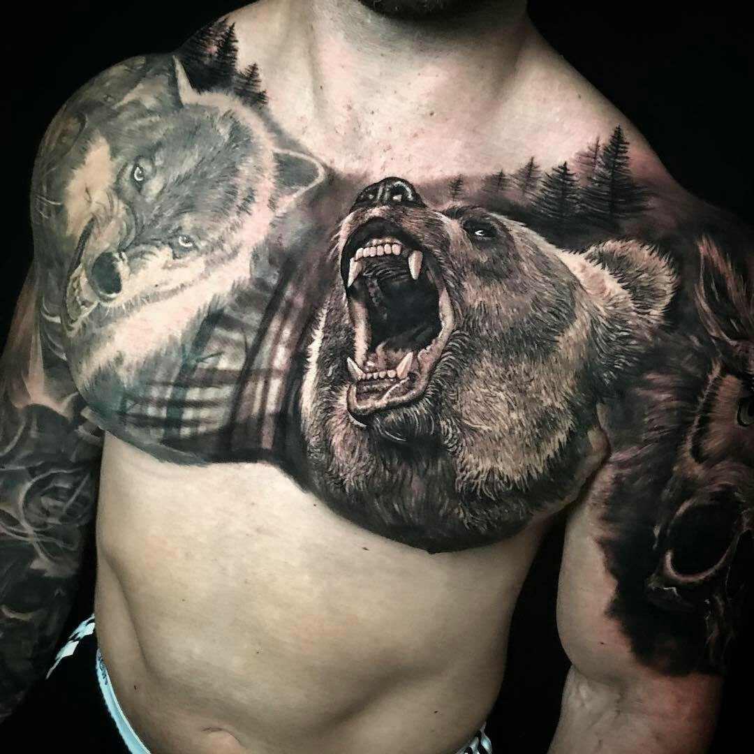 целый самые красивые тату с медведем фото лишь ночь заплести