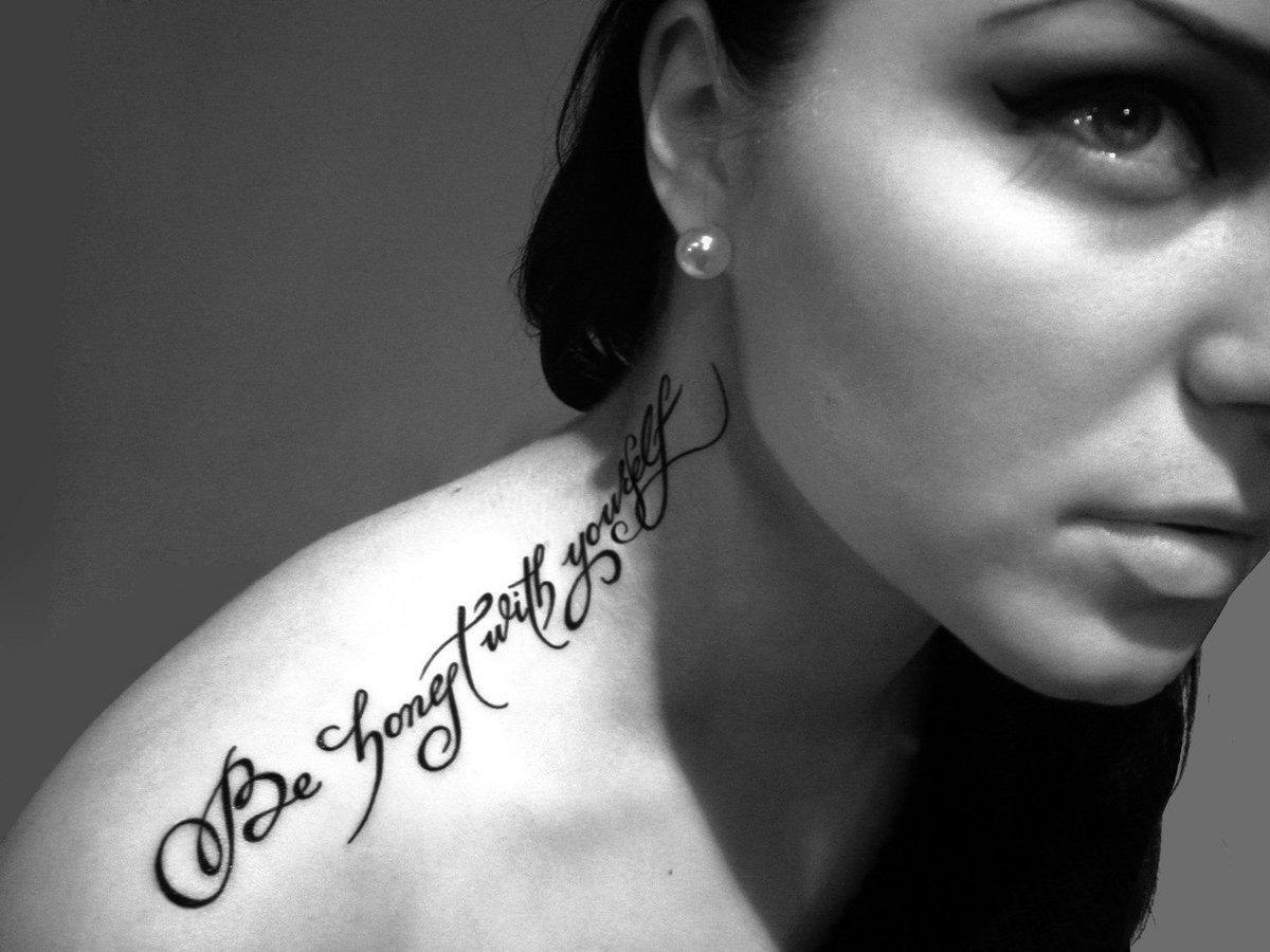 Татуировки для девушек с надписями и картинками