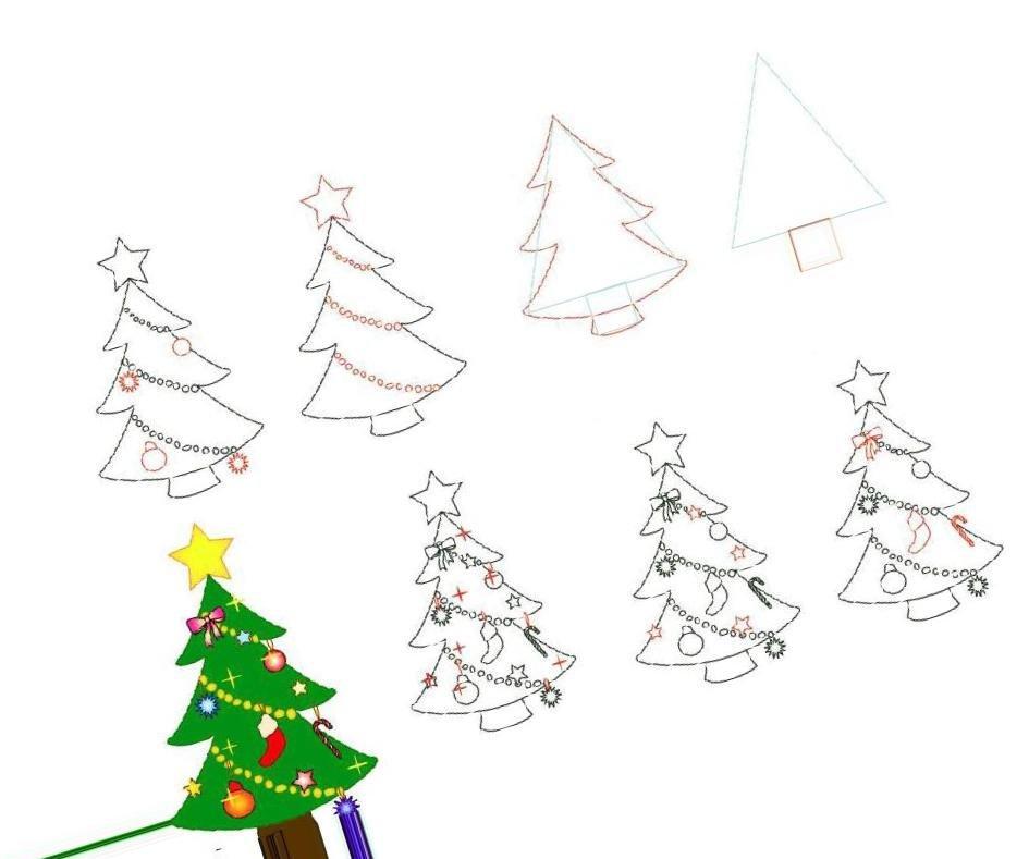 Рисование елки поэтапно в картинках