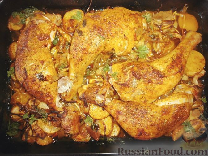 рецепт курица с картошкой в духовке с фото