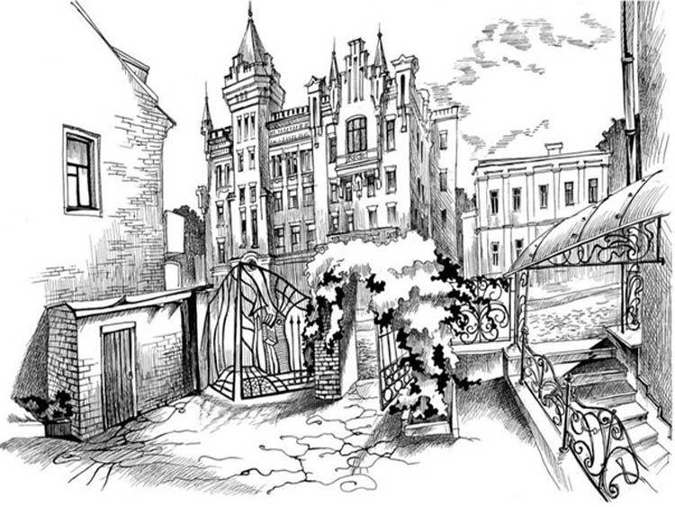 лето рисунки черно белым карандашом на тему город оптом торгуют