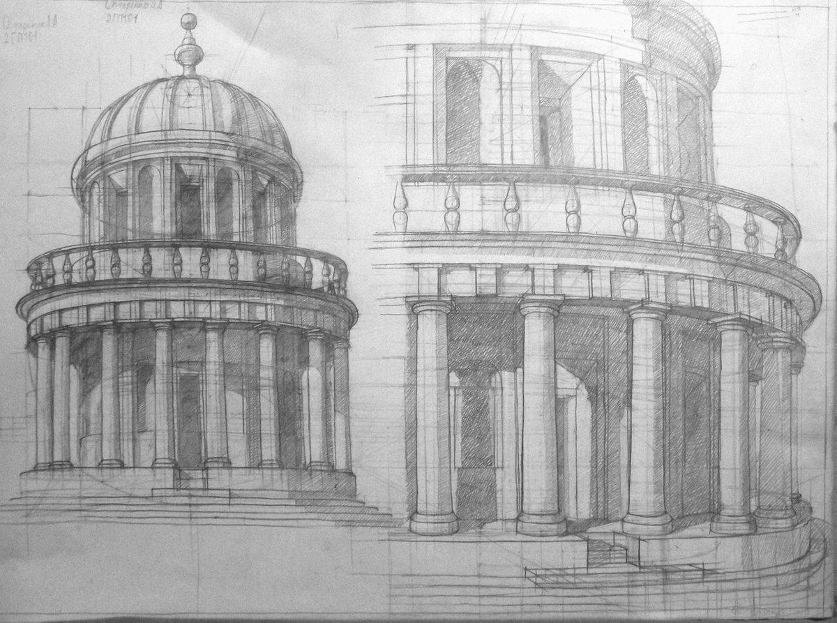 архитектурные здания картинки карандашом
