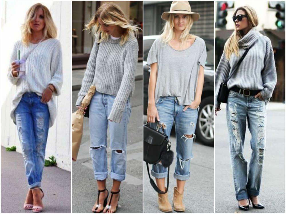 С чем носить джинсы бойфренды?