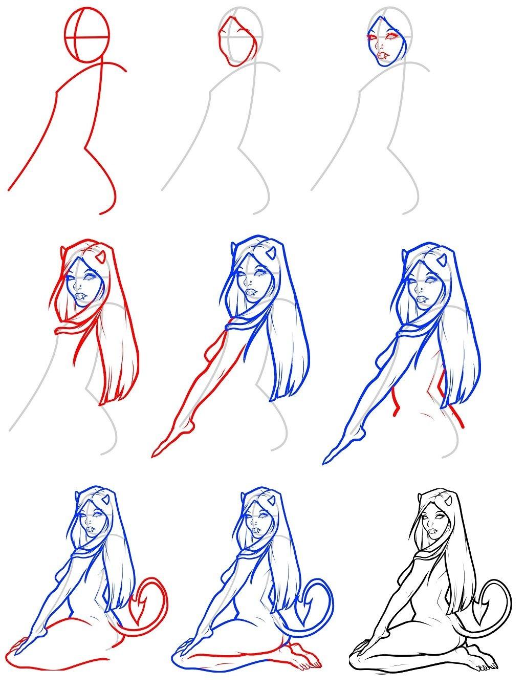 Как рисовать картинки поэтапно для девочек, новым 2015