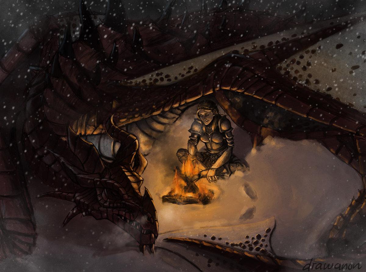 Картинки довакина с драконом