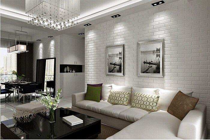 стена под белый кирпич в интерьере