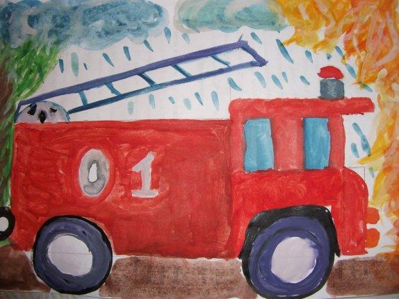 Рисование пожарной машины в подготовительной группе людей