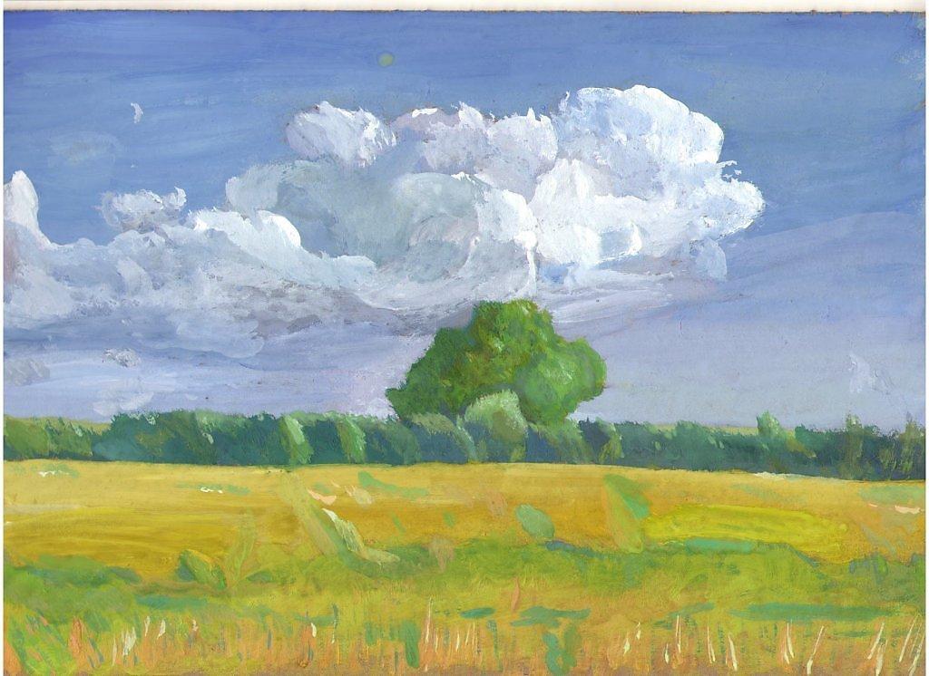 небо с облаками рисунок гуашью впечатление