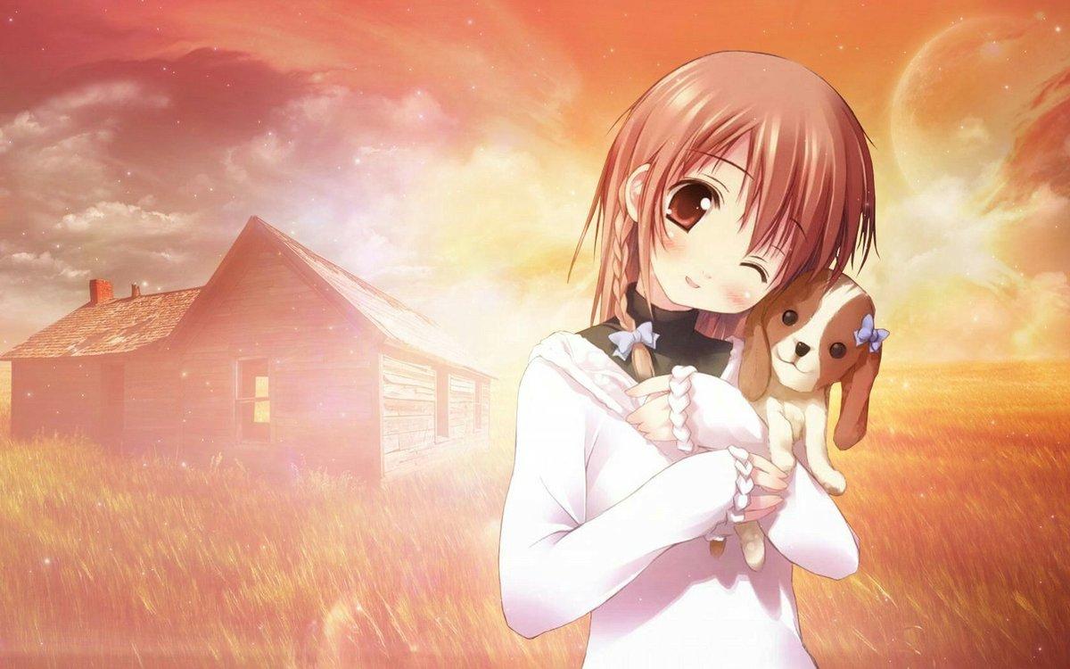 Для детей, картинки девочка с собакой аниме