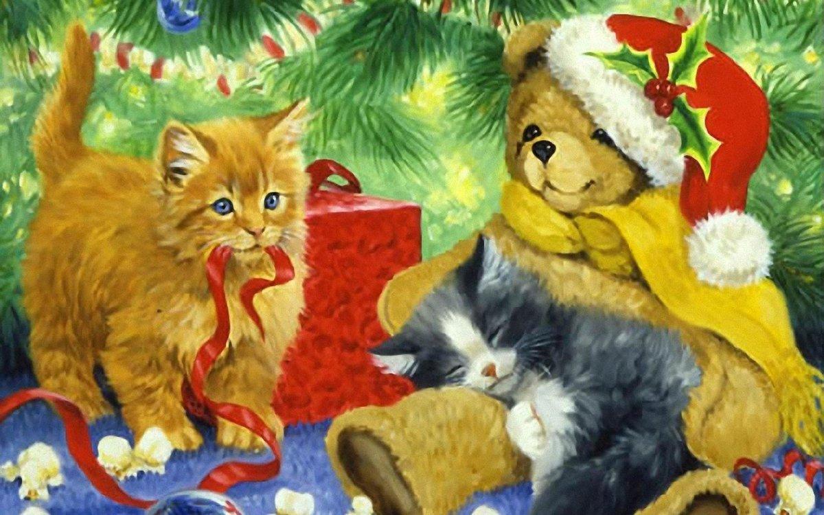Новогодние картинки котенок и щенок, картинки про новый
