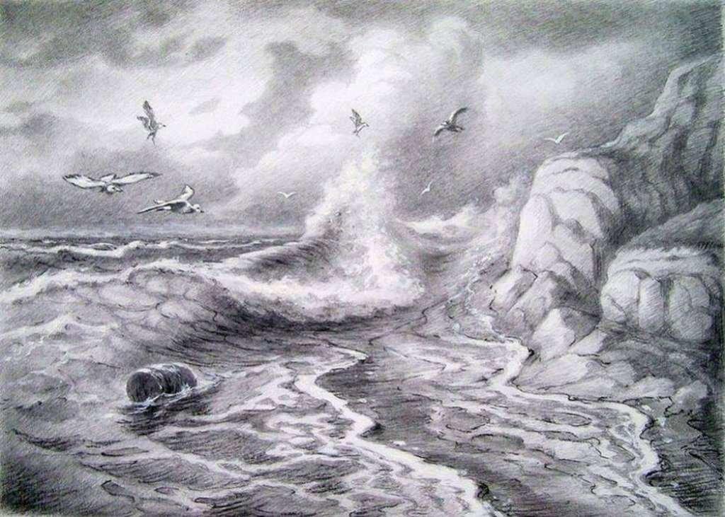 картинки море карандашом