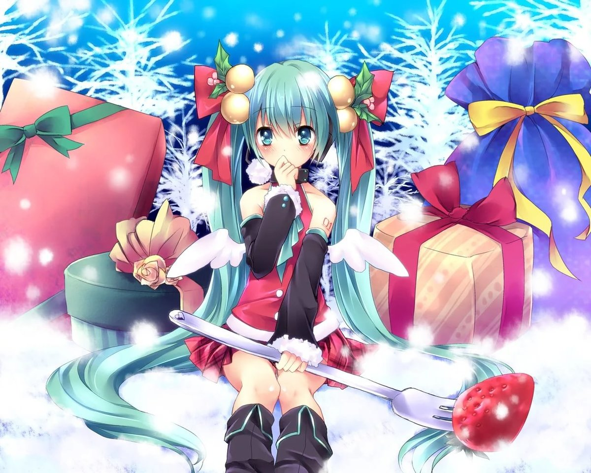Sorai Shinya Vocaloid Hatsune Miku Christmas Wallpaper Wings