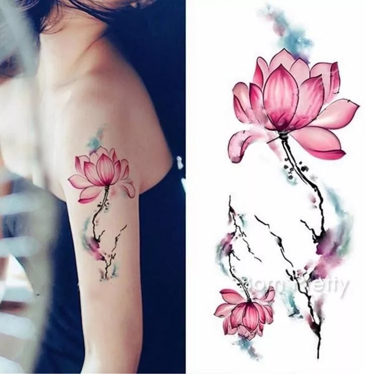 Collection Of 25 Watercolor Lotus Flower Tattoo On Shoulder Card