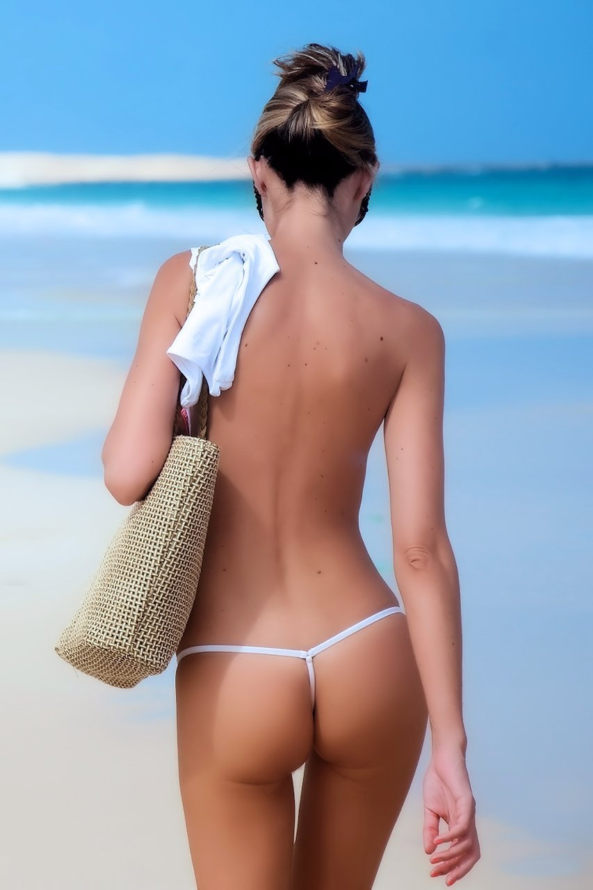 Topless women in thongs, redhead tits nude gif