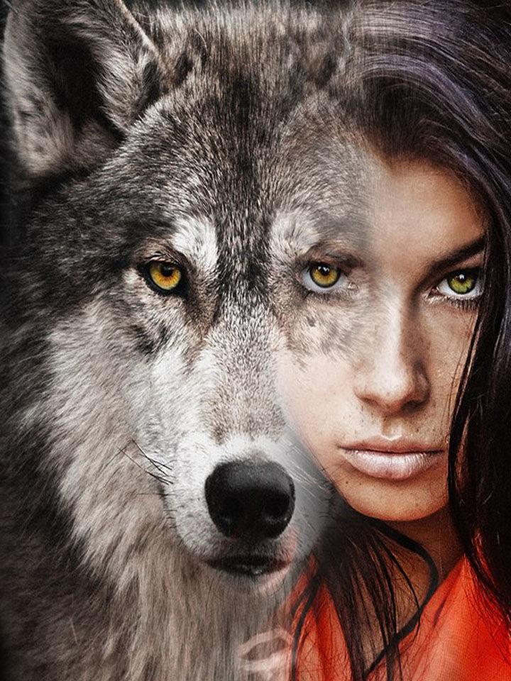 Рисованные картинки, картинки девушка и волк