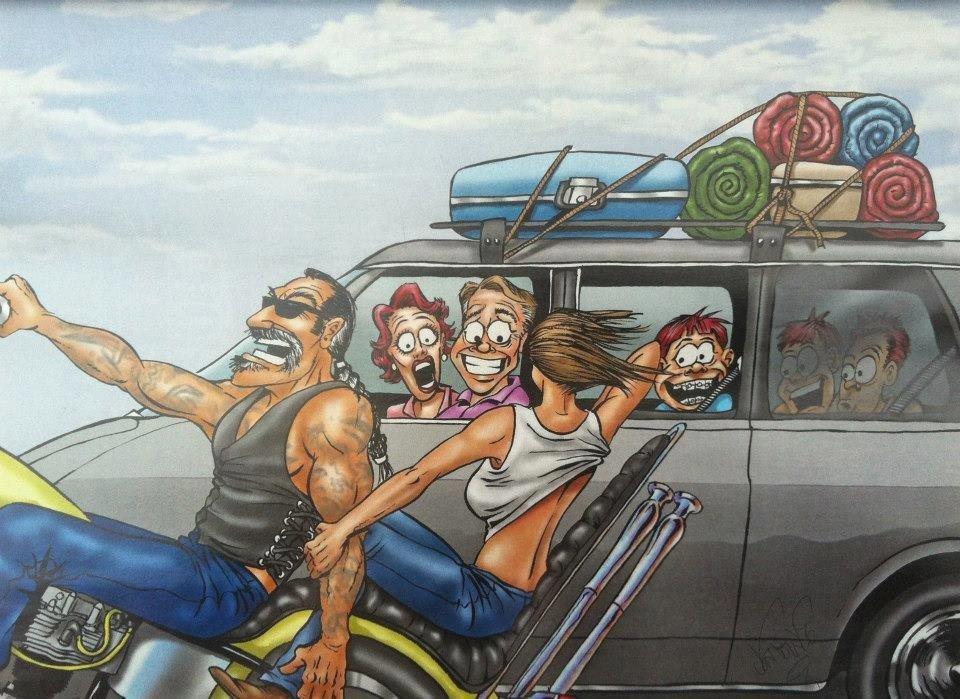 Смешные рисунки про байкеров, открытку