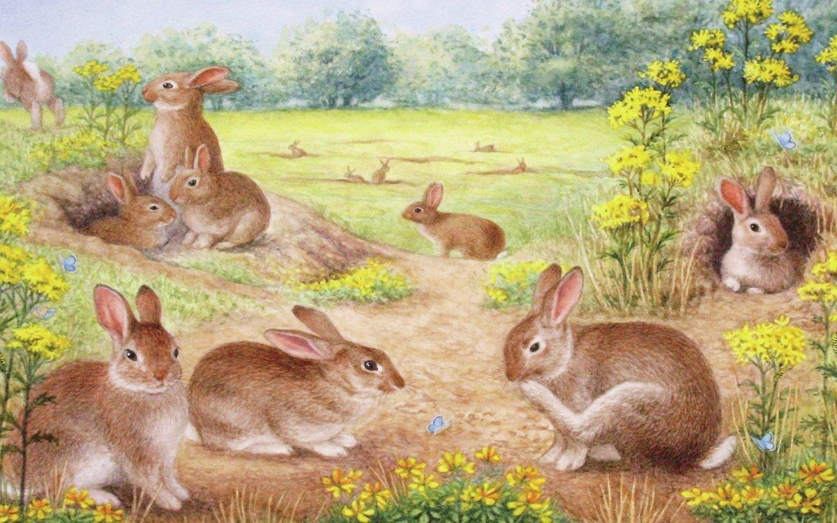 Картина с зайцами