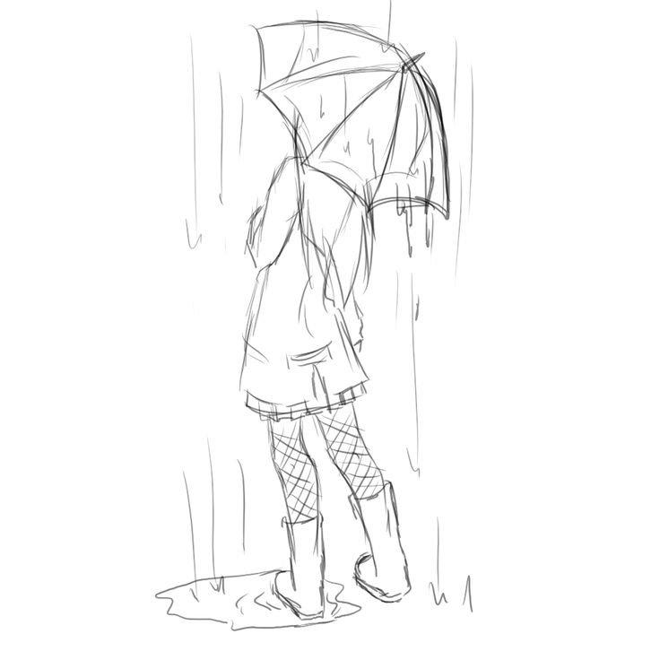 Девушка под дождем картинки карандашом, картинки день