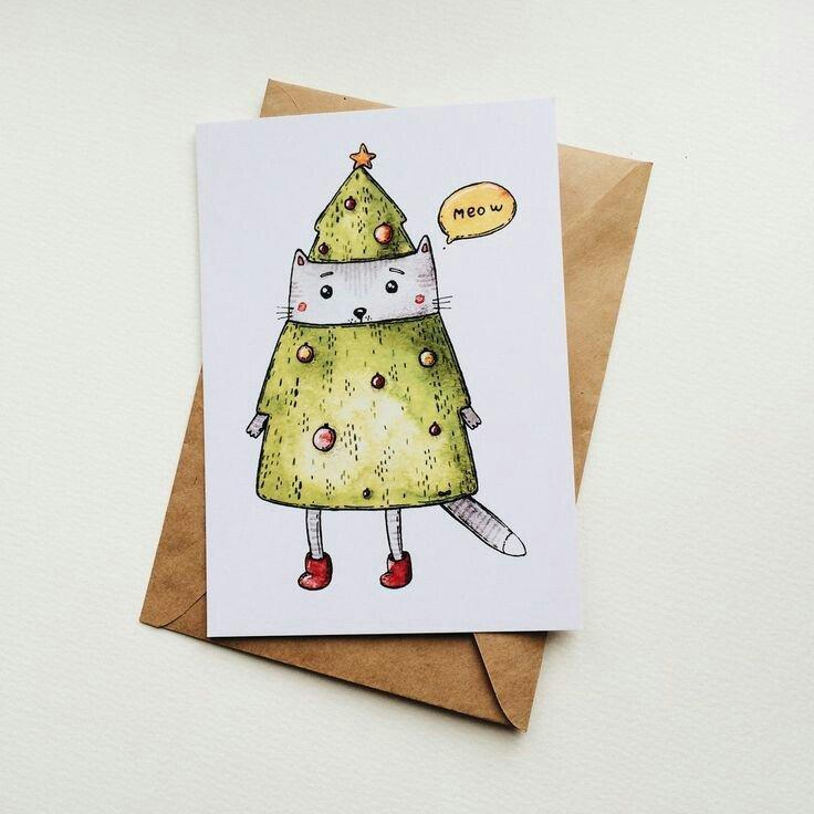 Нарисованная открытка своими руками на новый год