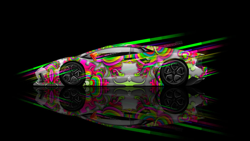 Delightful Lamborghini Aventador Side Super Speed Abstract Aerography Car