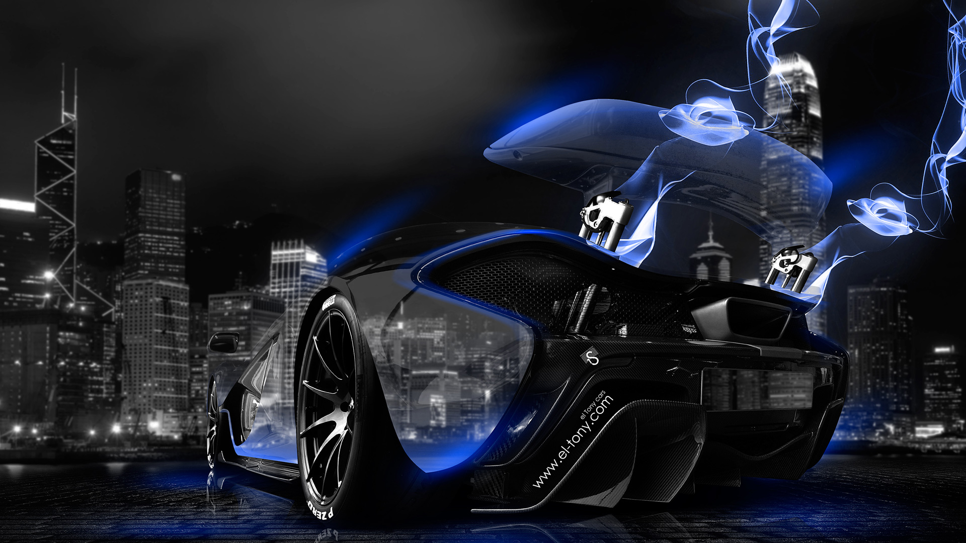 McLaren P1 Blue Neon Energy Crystal City Car 2014 HD Wallpapers ...