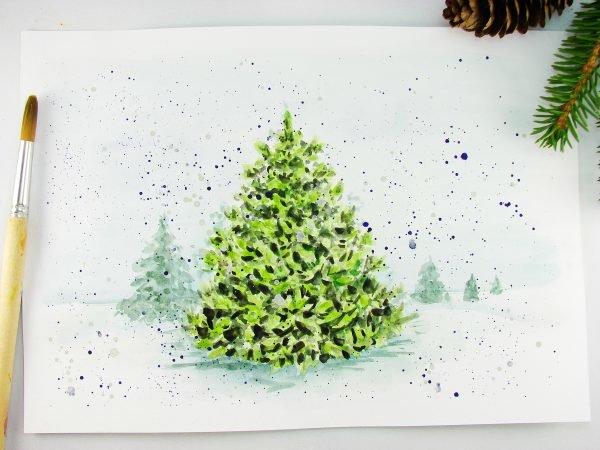 Новогодние картинки с елочками нарисовать видео акварелью, день ирины как
