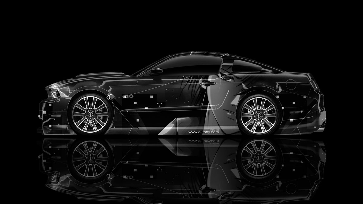 Ford mustang gt muscle side anime aerography car
